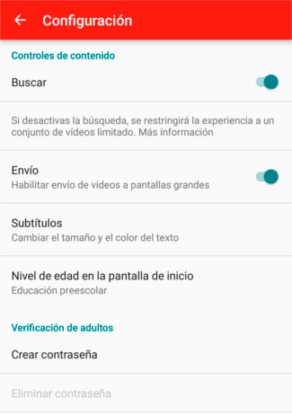 Configuración de YouTube Kids